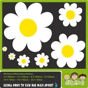 88X White Daisy Flowers Car Stickers Nursery Wall Decal