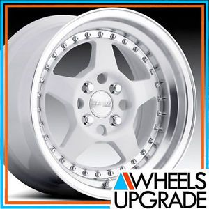 "15"" Acura Integra MRR FF5 White with Polish 3"" Lip Wheels Rims"