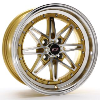 "New 15x7 5 15"" 505 Gold Str Racing Wheels Rims Set Acura BMW Chevy Honda Mazda"
