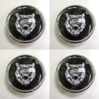 Jaguar Wheel Badge Set Center Cap Wheel Motif 1988 2012 Black Silver
