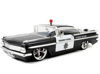Jada Heat 1 24 1959 Chevy Impapa Police CHP Black White
