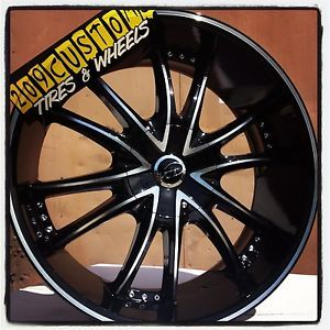 "22 inch 22"" Bossini VCT Black Wheels Rims Tires 5x115 Chrysler 300 2010 2011"