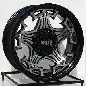 17 inch Black Wheels Rims Chevy Dodge RAM HD 2500 3500 8 Lug Truck Skulls 909
