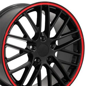 "17"" Black Red Line Corvette C6 ZR1 Wheels Set of 4 Rims Fits Chevrolet Camaro SS"