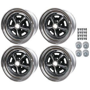 Magnum 500 Mopar Chrysler 15x7 Wheel Rim Kit 4 Wheels 4 Center Caps Lug Nuts