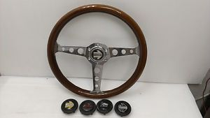 JDM Momo Super Indy Wood Chrome Steering Wheel Horn Button Jimny Fiat Alfa Romeo