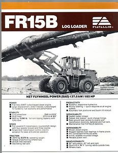 1989 Fr 15 B Fiat Allis Log Wheel Loader Payloader Tractor Brochure