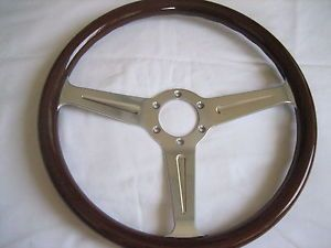 Vintage Momo Wood Polished Spoke Steering Wheel Alfa Chevy Lancia Fiat Datsun