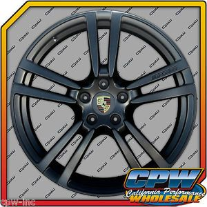 "New Set of 4 22"" inch Porsche Cayenne Turbo II Style Wheels Rims Matte Black"