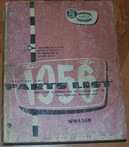 56 Mopar Parts Book Catalog Plymouth Dodge Chrysler Passenger Cars Fury 300 D500