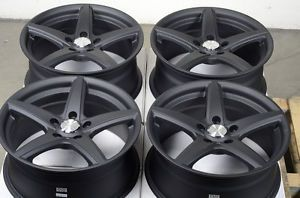 17 5x114 3 Matte Black Wheels Lexus ES300 IS250 IS300 Civic Scion Acura TL Rims
