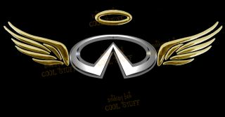 Infiniti 3D Gold Red Chrome Angel WNGS Decal Sticker Car Emblem Logo F1