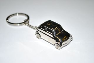 Fiat Classic 500 Silver Chrome Genuine Key Ring Holder 46004892
