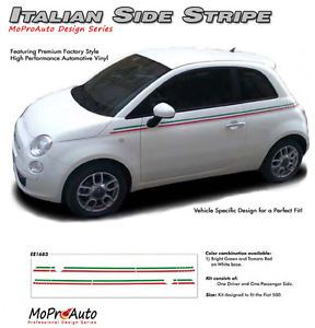 Body Line Thin Red Green Italian Stripe Vinyl Graphic Decal 2011 2014 Fiat 500