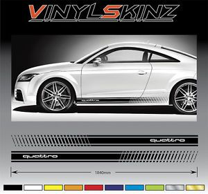 Audi Quattro Premium Side Stripes Decals Graphics Stickers TT RS A3 A4 Q5 R8 02