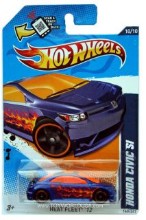 2012 Hot Wheels Heat Fleet 160 Honda Civic SI Blue