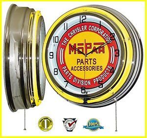 "19 inch ""Chrysler Mopar Parts Accessories"" Tin Sign Yellow Double Neon Clock"