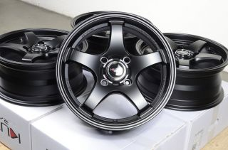 15 4x114 3 Matte Black Rims Nissan Versa galant Accent Volvo S40 Accord Wheels