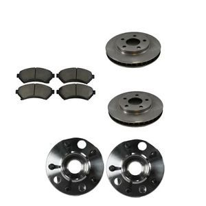 Olds Pontiac Buick Front Ceramic Brake Pads Rotors Wheel Bearing Hubs Set Kit
