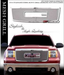 Chrome Mesh Stainless Steel Front Hood Overlay Grill Grille 2007 2013 GMC Sierra