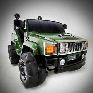 Green 12V Battery Power Kids Ride on Hummer Jeep w Big Wheels