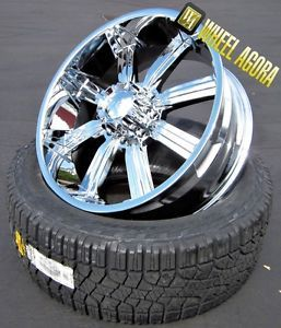 "24"" inch Dcenti 903 Chrome Wheels Rims 8 Lug 325 45 24 Perelli Tires Hummer H2"