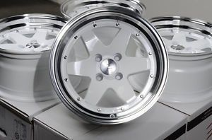 "15"" Effect Wheels Racing Rims White 4x100 0mm Offset Honda Civic Mini Cooper"