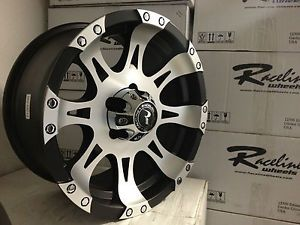 16 inch Black Machined Raceline Raptor Wheels Jeep Wrangler Cherokee 5x4 5 Rims
