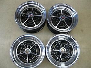 Buick Regal 78 87 rwd Set of 4 14x 6 Chrome Rally Wheels Rims Centers Lugs