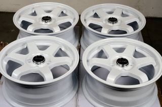 "15"" White Kudo Wheels Rims 4 Lug Sephia Rio Spectra Prelude Civic Accord Escort"