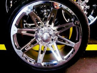 "24"" Wheels Rim Tires Hummer H2 SUT Chrome 22 26"