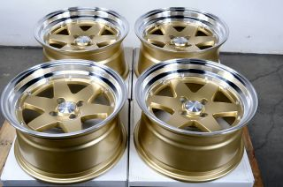 15x8 Gold Effect Wheels Rims 4x100 0mm Offset Civic Corolla Cobalt Accord Neon