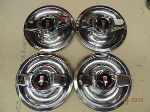 Oldsmobile Rally Wheel Center Caps w 2 Bar Spinners 442 Cutlass Chevy Olds