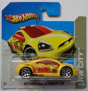 2013 Hot Wheels HW City Mitsubishi Eclipse Concept Col 18 Yellow Short Card