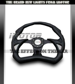 350mm Universal PVC Leather Black Jet Style JDM Racing Steering Wheel
