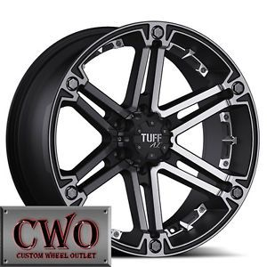 17 Black Tuff T 01 Wheels Rims 5x139 7 5 Lug Dodge RAM Dakota Durango