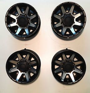 "17"" Ultra Crusher 8 Lug Chevy Truck Wheels Rim Black Machined Set 4 GMC 8x6 5"