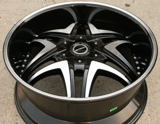 "Strada Dolce 192 22"" Black Rims Wheels Lincoln Mark Lt 22 x 9 5 6H 25"