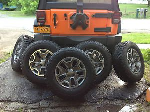 "5 Five Factory 2013 Jeep Wrangler Rubicon JK Wheels Tires 32"" LT255 75R17"