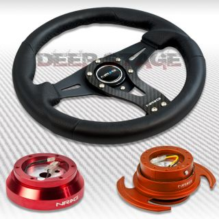 NRG Carbon Steering Wheel Red Hub Orange 3 Quick Release Kit 89 98 Nissan 240sx