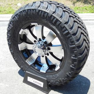 "20"" Black Ultra Wheels LT325 60 20 Durun M T Tires Chevy GMC 2500 3500 8x180"