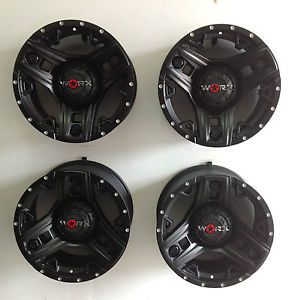 "18"" Worx Triad 6 Lug Truck Wheels Rim Black Set 4 Ford 6x135 Chevy GMC 6x5 5"