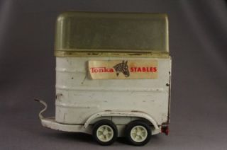 Vintage Metal Toy Tonka Stable Horse Truck Travel Trailer