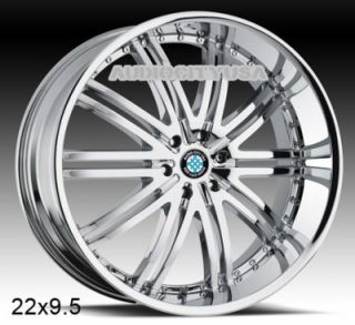 "22"" D 1 Chrome for BMW Wheels and Tires Rims 5 6 7 Series 645 650 745 750 760"