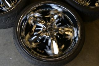 "22"" Dub Spine Chrome Spinner Wheels Rims Box Chevy Caprice Oldschool"