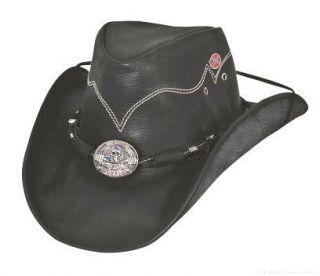 Western Hats Rock Out Hell on Wheels Leather Cowboy Hat