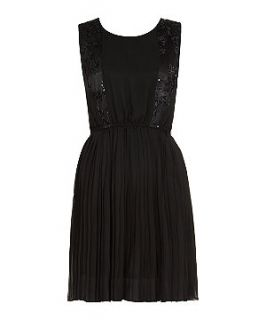 Belle Heart Black Sequil Side Panel Pleated Dress