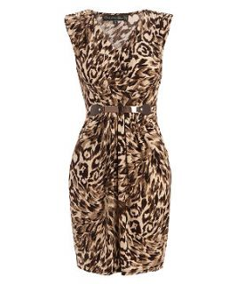 Mela Brown Leopard Print Belted Dress