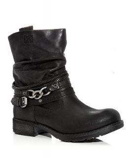 Black Leather Chain Trim Biker Boots