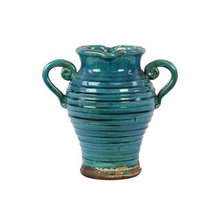 Tuscan Turquoise Double handled Ceramic Vase Urban Trends Collection Vases